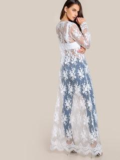 Lace Sheer Kimono OFF WHITE