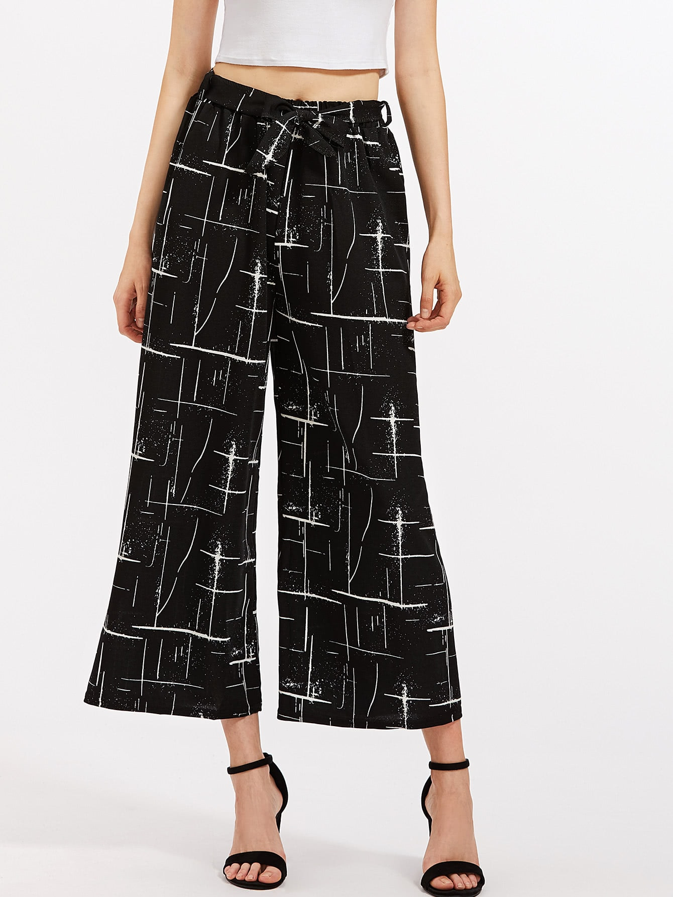 Abstract Print Self Tie Wide Leg Pants bow tie side wide leg pants