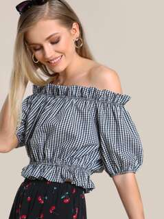 Off Shoulder Gingham Print Crop Top BLACK WHITE