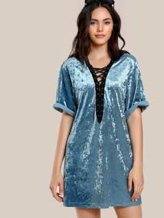 Grommet Lace Up Plunge Neck Crushed Velvet Dress