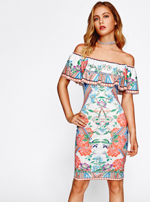 Mixed Print Flounce Off Shoulder Dress