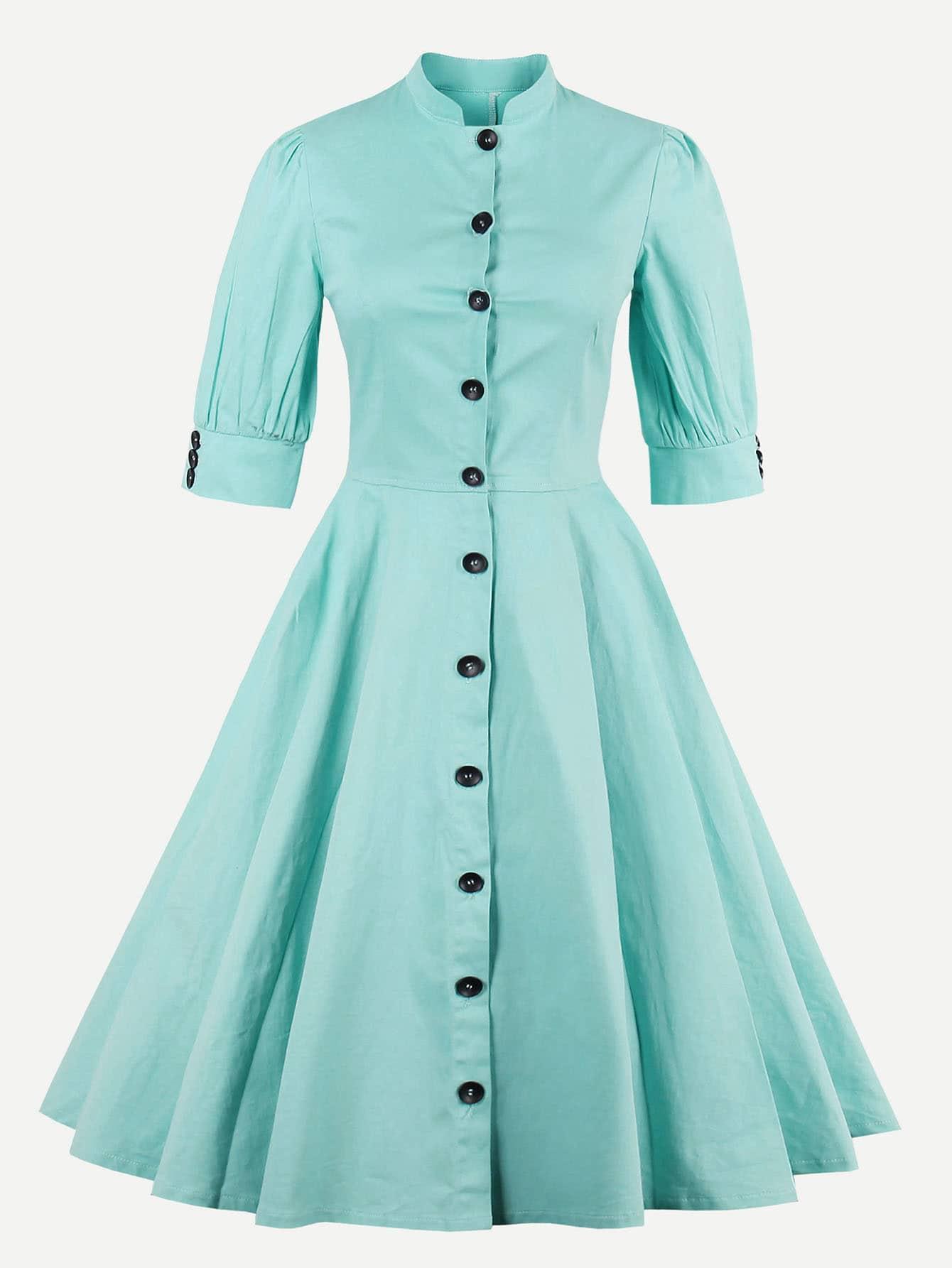 Фото Puff Sleeve Button Front Circle Dress. Купить с доставкой