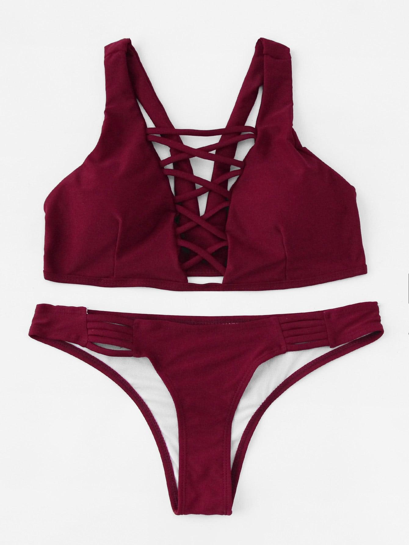 Фото Criss Cross Plunge Neckline Bikini Set. Купить с доставкой