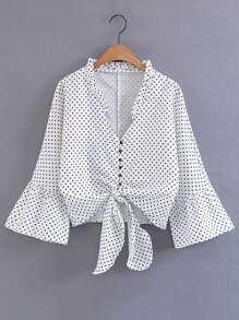 Bluse mit Glockärmeln, Punkte und Knoten vorn