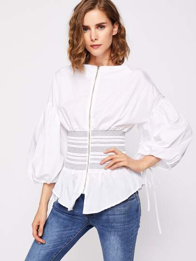 Lantern Sleeve Corset Waist Zip Up Blouse