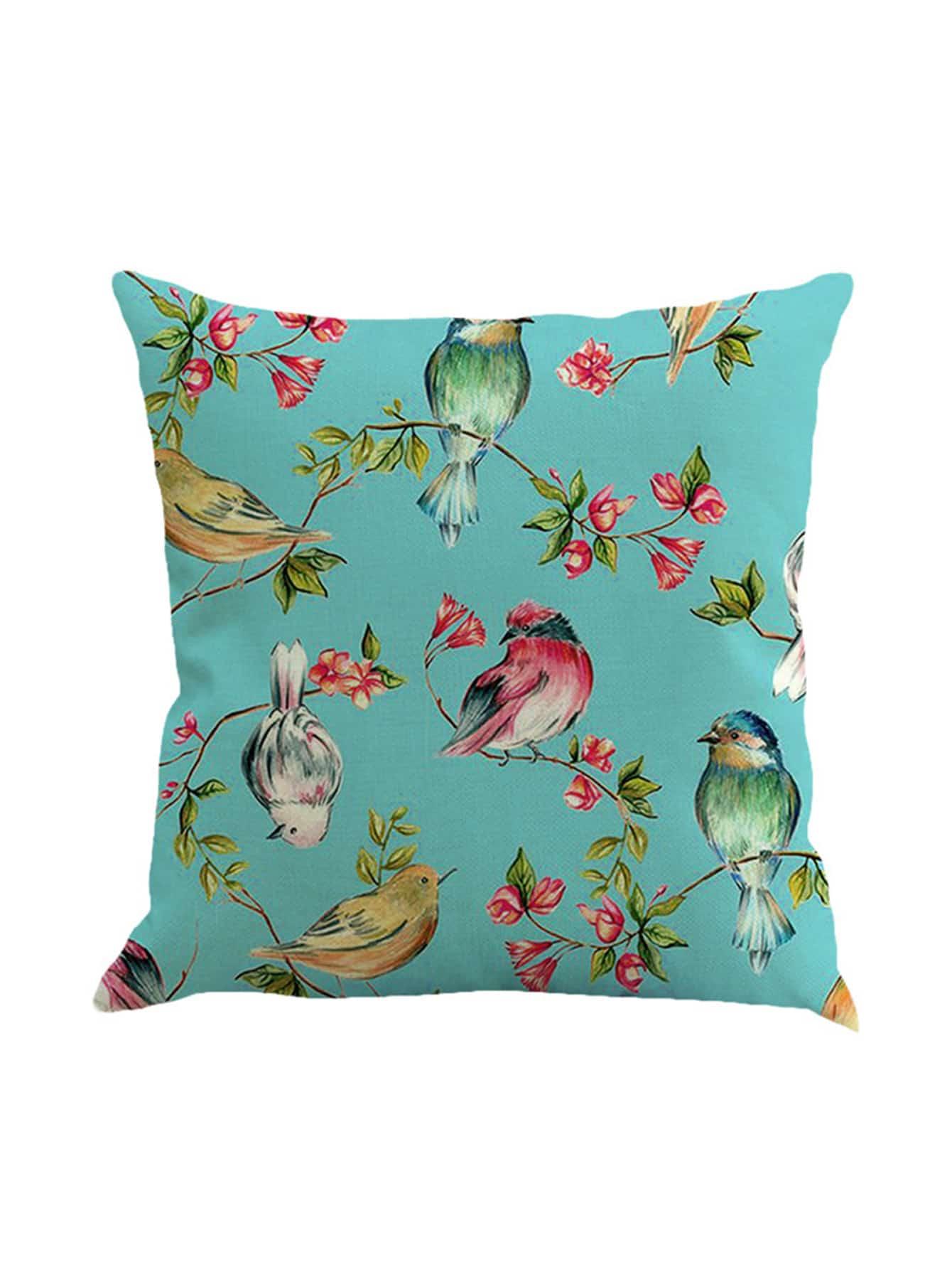 Bird Print Pillowcase Cover