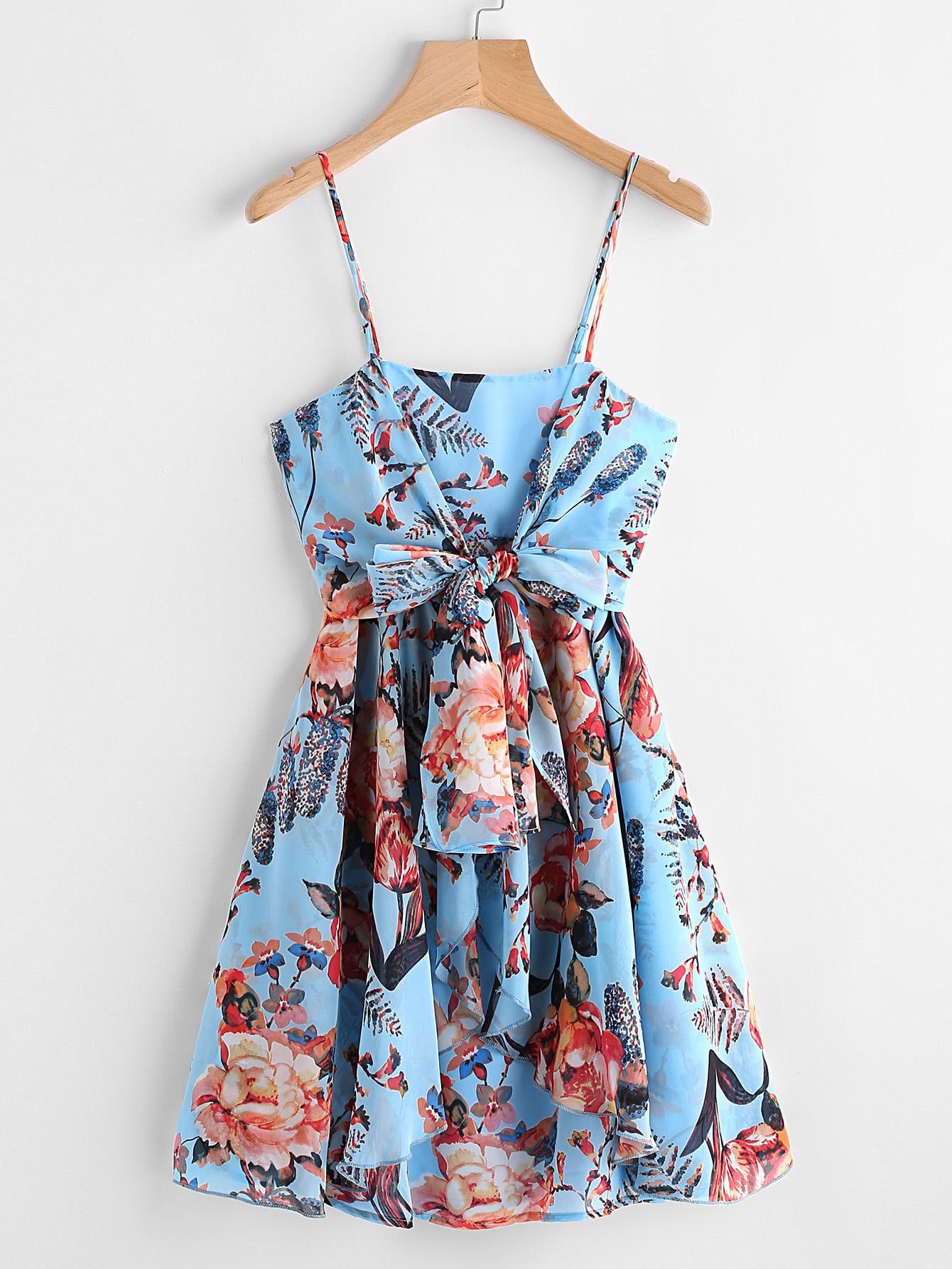 Фото Knot Front Smocked Back Layered Botanical Cami Dress. Купить с доставкой