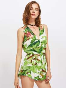Overlap Front Frilled Hem Tropical Romper pictures