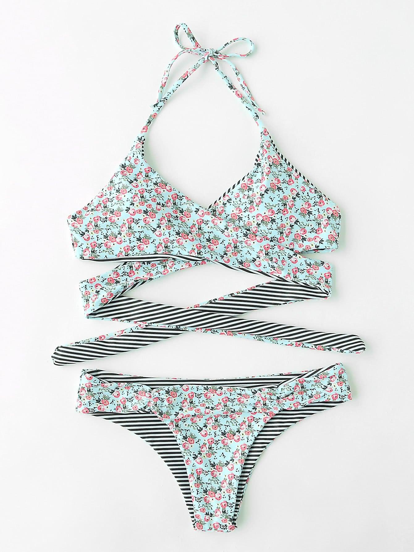 Calico Print Wrap Bikini Set swimwear170731307