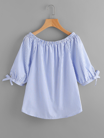 Boat Neckline Vertical Striped Tie Sleeve Blouse