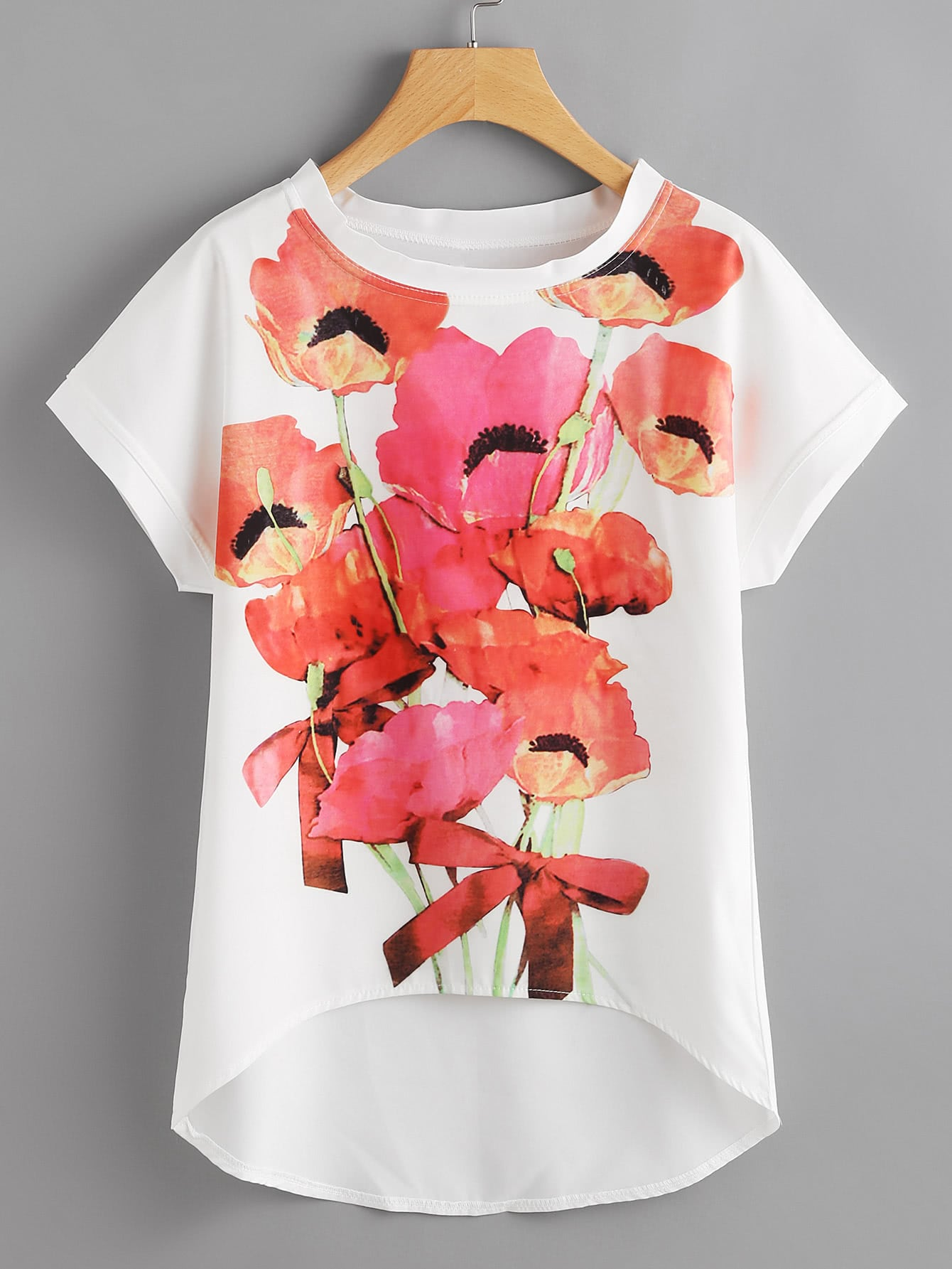Flower Print Dip Hem Chiffon Top boho print dip hem chiffon top