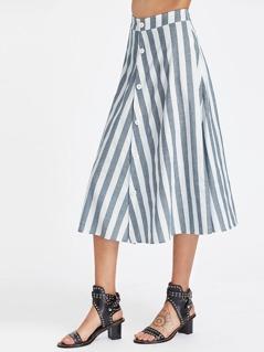Band Waist Button Front Striped Skirt