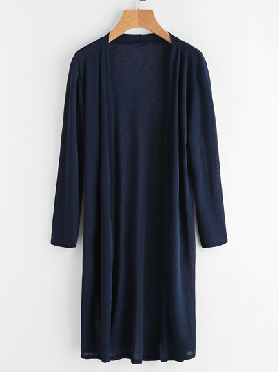 Collarless Longline Duster Coat