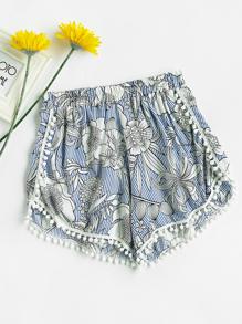 Shorts avec garniture de pompons rayure imprimé fleur