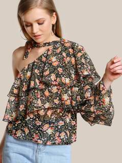 Single Shoulder Layered Floral Shirt BLACK BLUSH