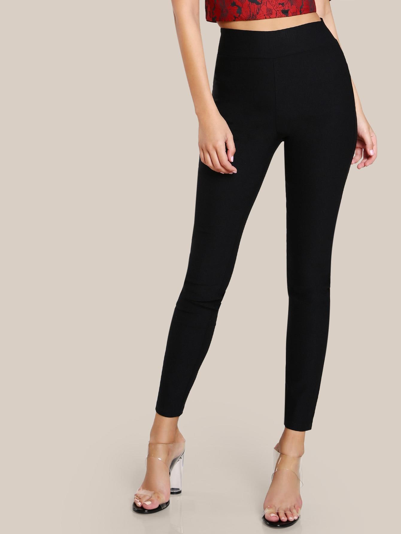 Elasticized Waist Skinny Pants elasticized waist velvet pants