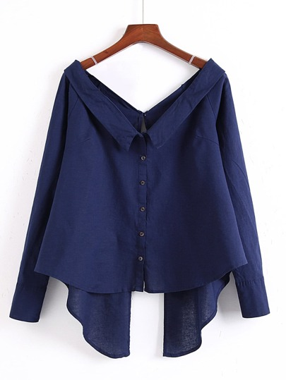 Double V Neck Asymmetrical Hem Blouse