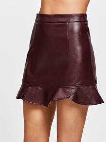 Frill Hem Faux Leather Skirt