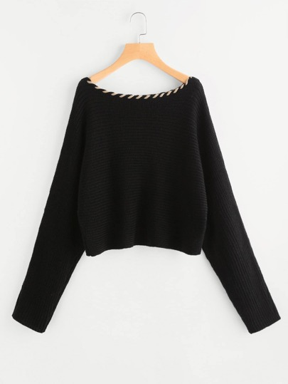 Whipstitch Neck Dolman Jumper