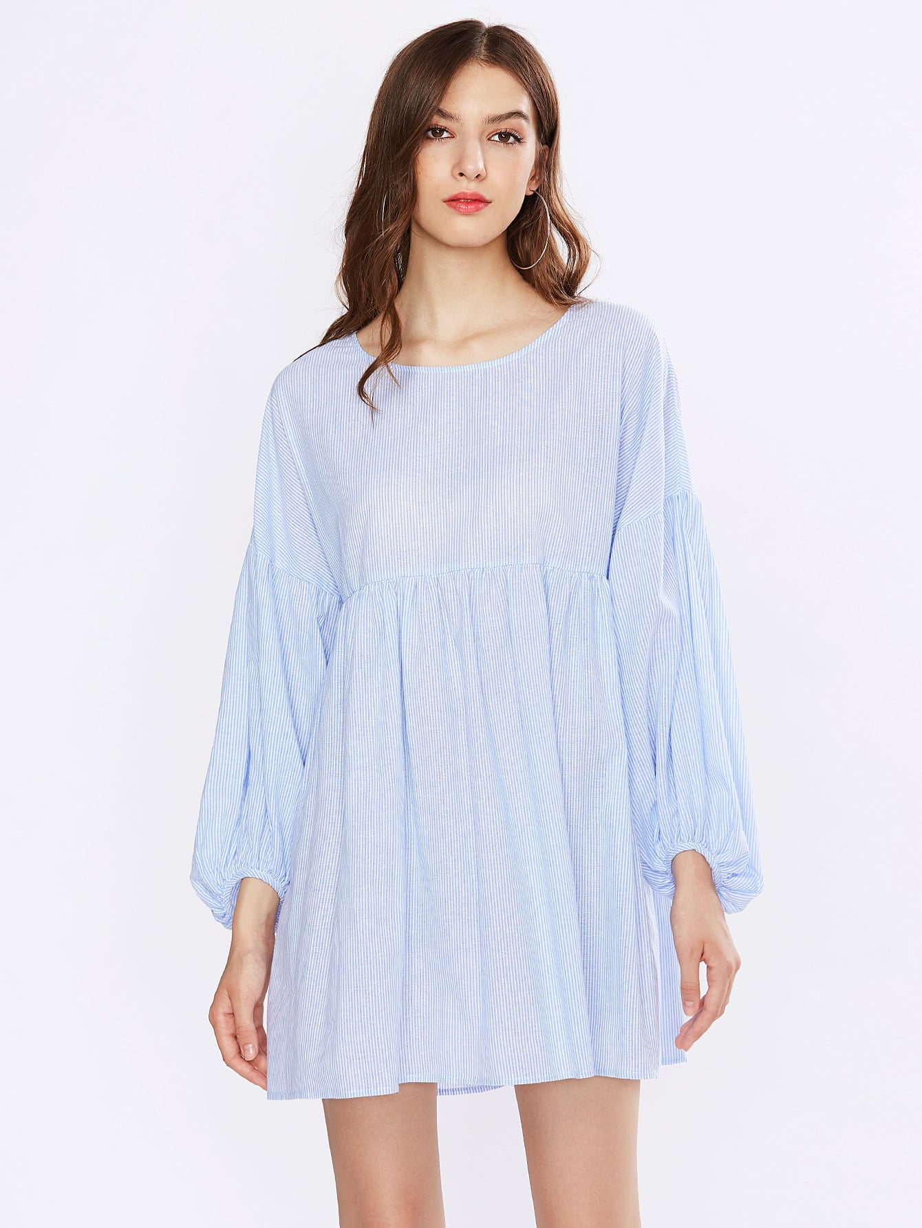 Фото Drop Shoulder Lantern Sleeve Smock Dress. Купить с доставкой