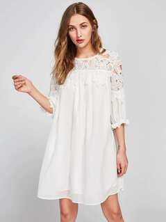 Guipure Lace Shoulder Frilled Cuff Swing Dress