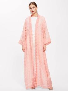 Shawl Collar Frayed Jacquard Detail Abaya