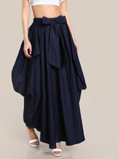 Draped Denim Skirt DARK DENIM