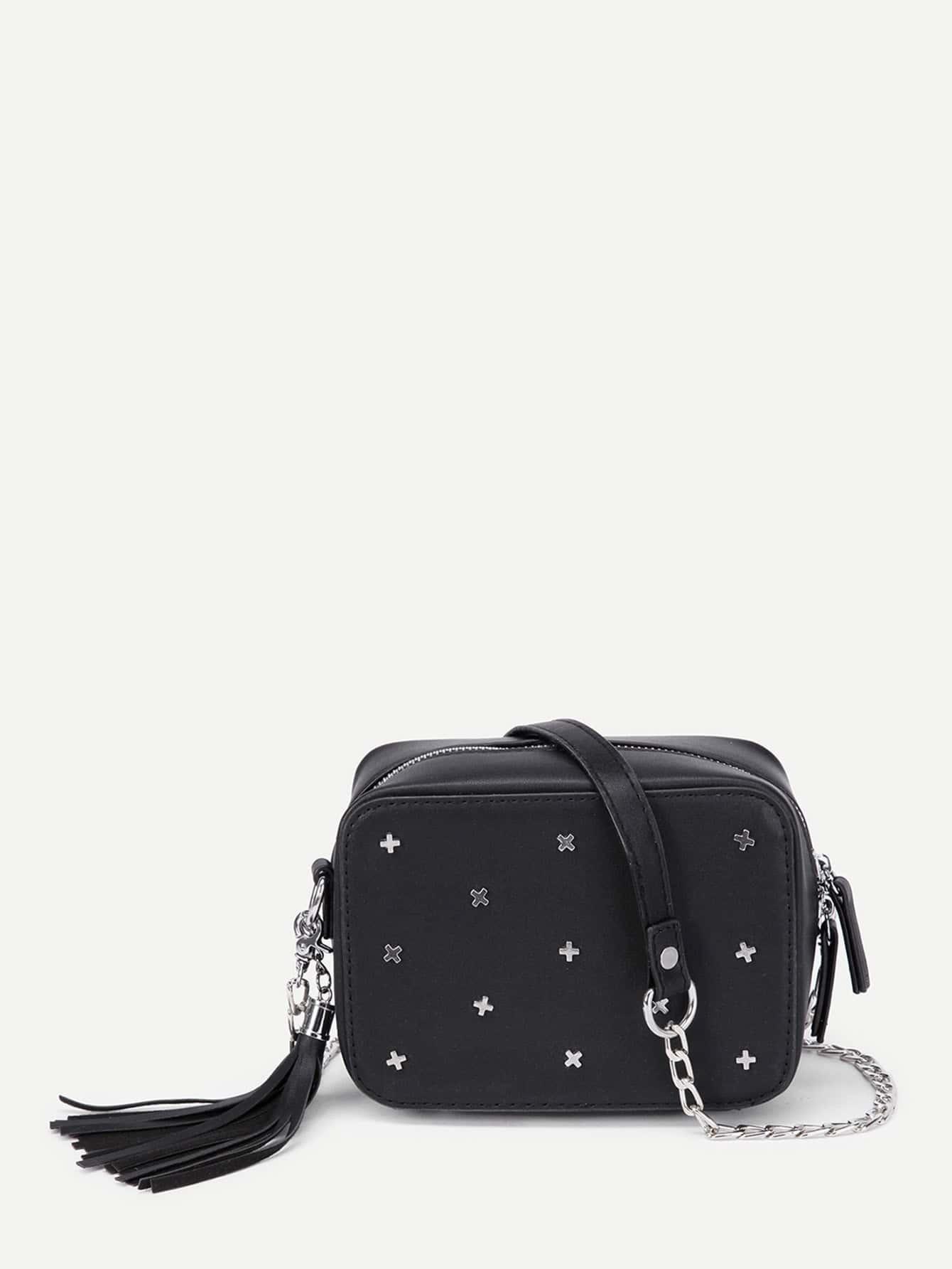Фото Metal Cross Detail PU Chain Bag With Tassel. Купить с доставкой