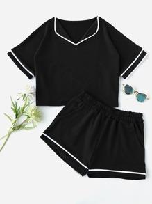 Conjunto de pijama con detalle de ribete en contraste