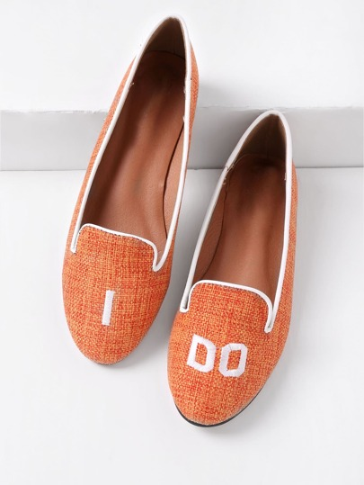 Letter Embroidery Canvas Flats