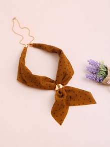 Dot Print Neckerchief With Chain
