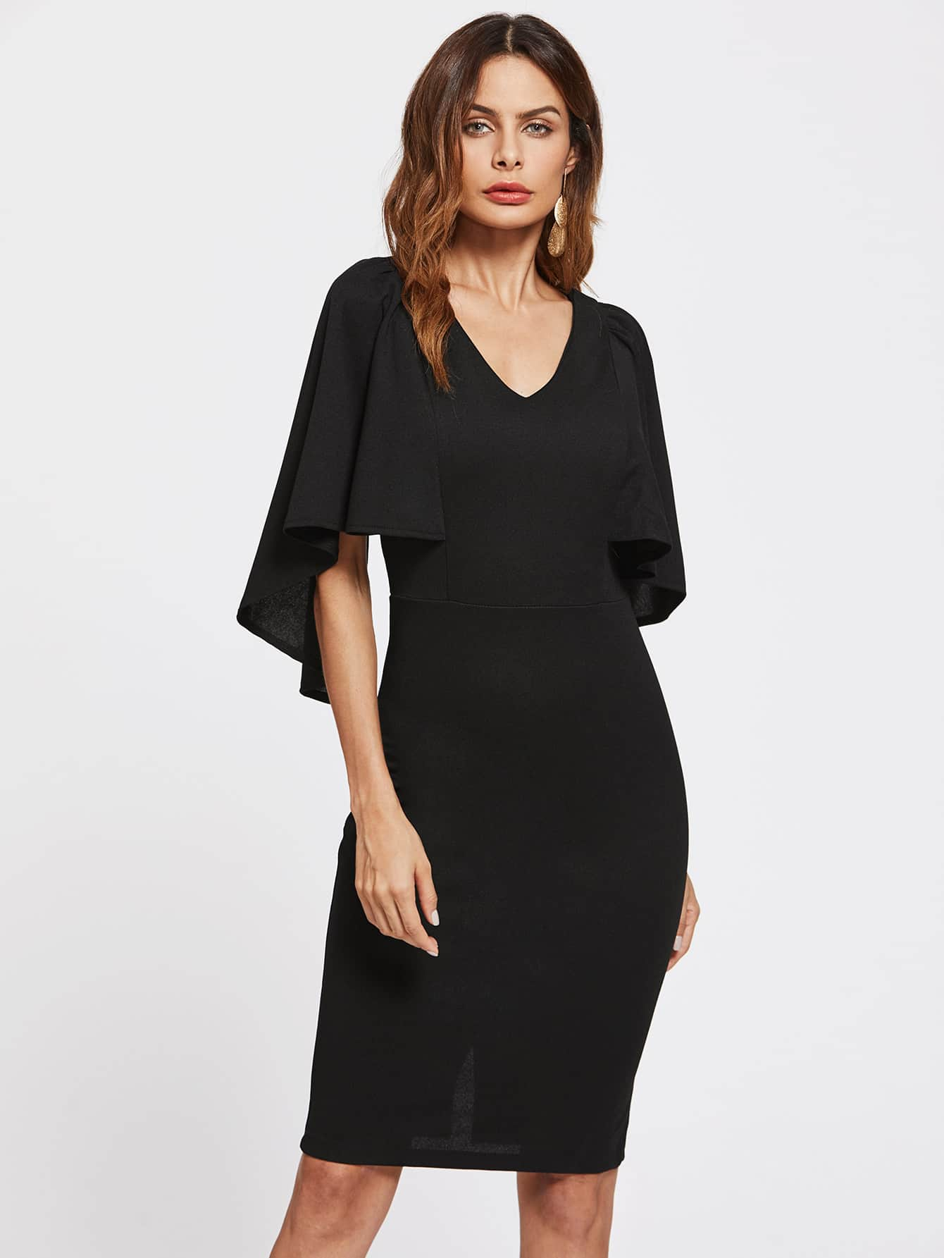 Form Fitting Cape Sleeve Dress dress170712452