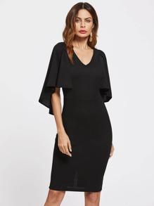 Form Fitting Cape Sleeve Dress