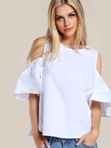 Solid Cold Shoulder Dolphin Hem Top