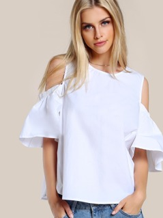 Solid Cold SHoulder Top WHITE
