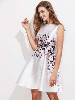 Floral Print Fitted & Flared Dress