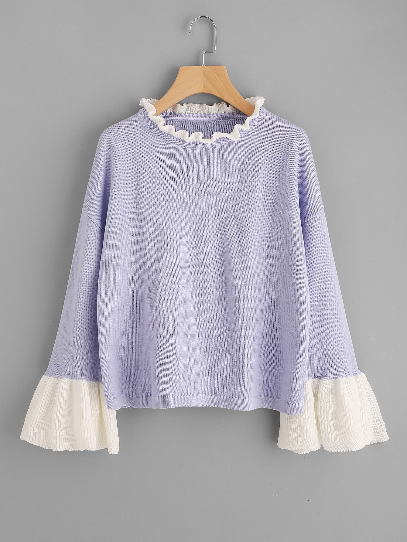 Contrast Ruffle Neck And Bell Cuff Jumper sweater170720470