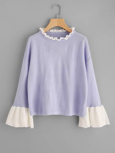 Contrast Ruffle Neck And Bell Cuff Jumper
