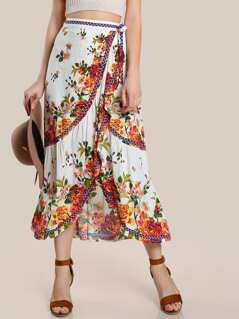 High Rise Ruffle Hem Maxi Skirt CREAM