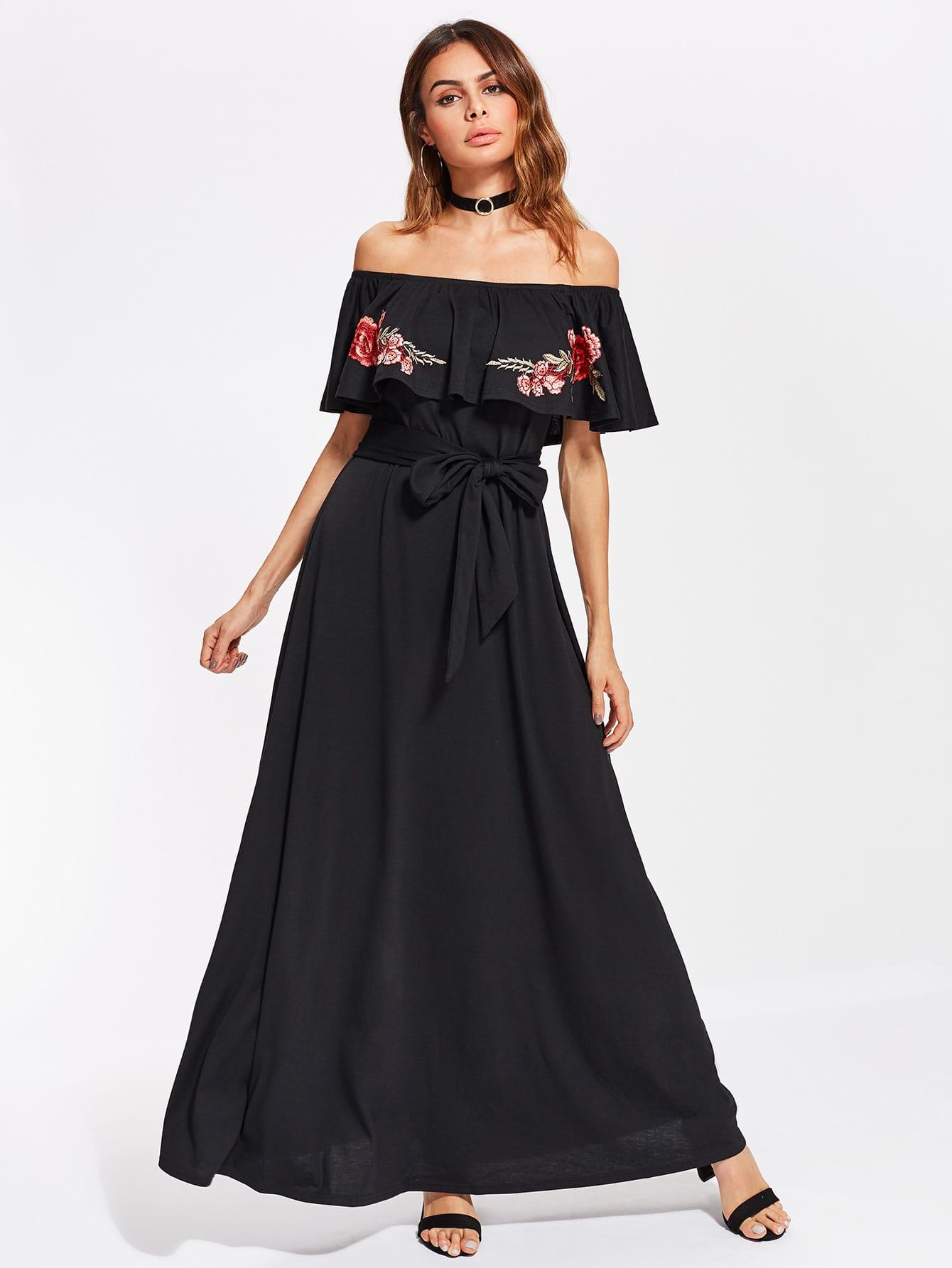 Фото Embroidered Flower Patch Self Tie Frill Bardot Dress. Купить с доставкой