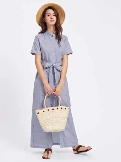Band Collar Buttoned Up Pinstripe Shirt Dress pictures