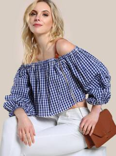 Gingham Off Shoulder Lantern Sleeve Shirt BLUE