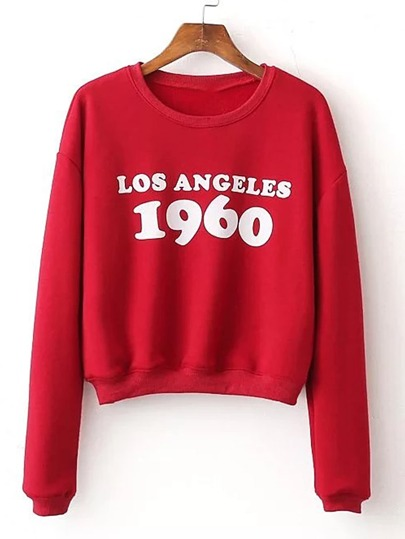 Drop Shoulder Seam Letter Print Sweatshirt