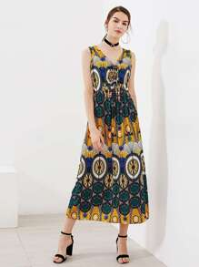 Ornate Print Beaded Tie Neck Dress