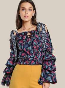 Off Shoulder Layered Sleeve Top NAVY