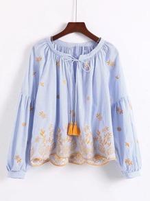 Drop Shoulder Tassel Tie Embroidery Top