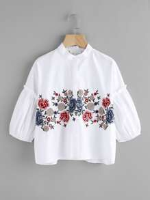 Flower Embroidered Frilled Puff Sleeve Blouse