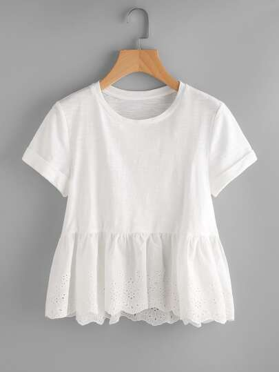 Eyelet Embroidered Hem Mixed Media Tee