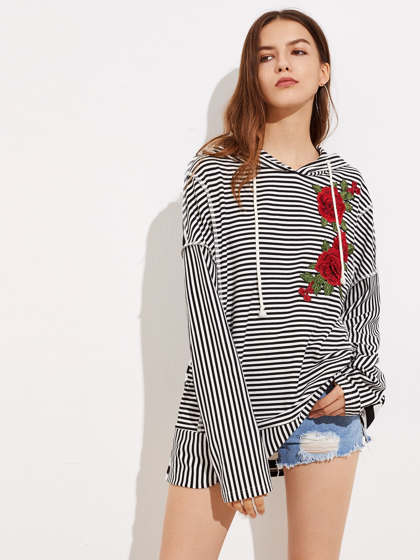 Mixed Stripe Embroidery Applique Hoodie sweatshirt170713702