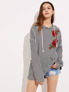 Mixed Stripe Embroidery Applique Hoodie